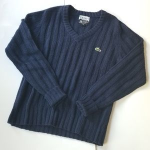 Lacoste | 1960's Vintage Izod Cableknit Wool Vneck